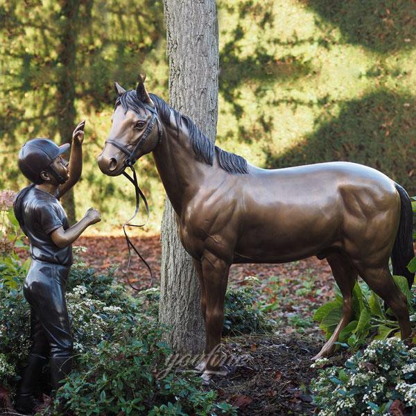 antique bronze racing jockey horse statue designs for school