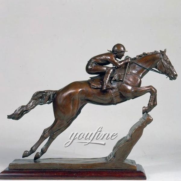 Art decor metal bronze horse and jockey figurines for home decor