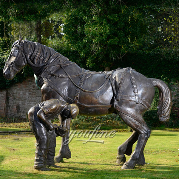 Bronze horse and jockey sculpture for outdoor decor