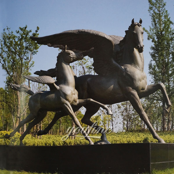 Bronze winged race horse sculptures with little poney statues