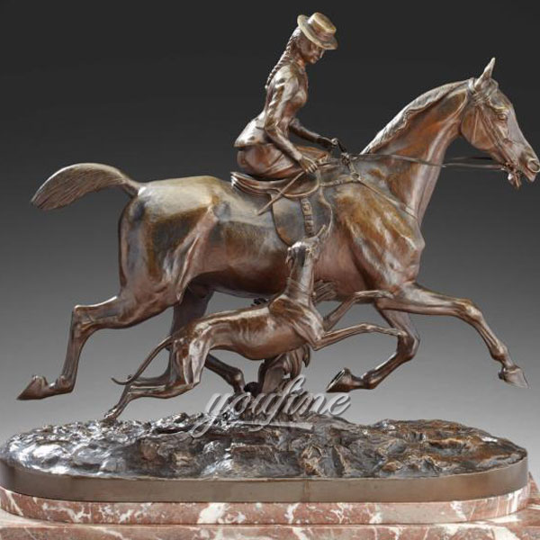 Classic Hot Casting bronze woman riding horse statues with dog figurines on selling