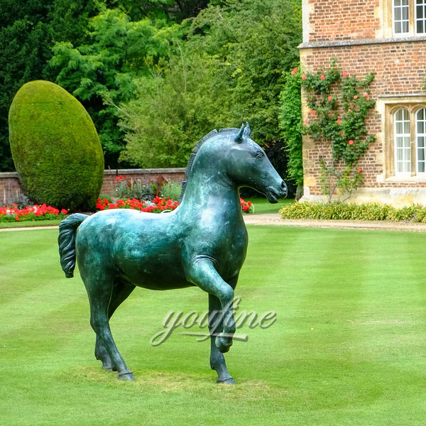 Garden Decoration Metal Craft Life Size Antique Bronze fat Horse Statues for sale