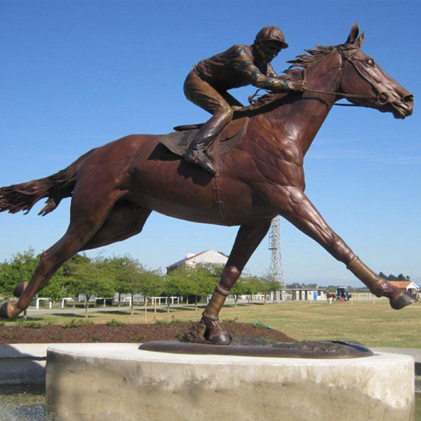 High Quality Bronze Race Horse Sculptures with riding man statues outdoor for sale