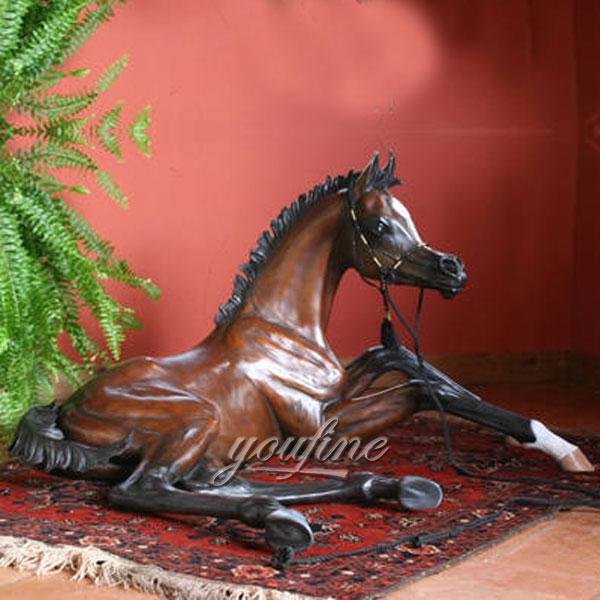 Home decoration antique copper metal bronze lying horse sculptures for sale
