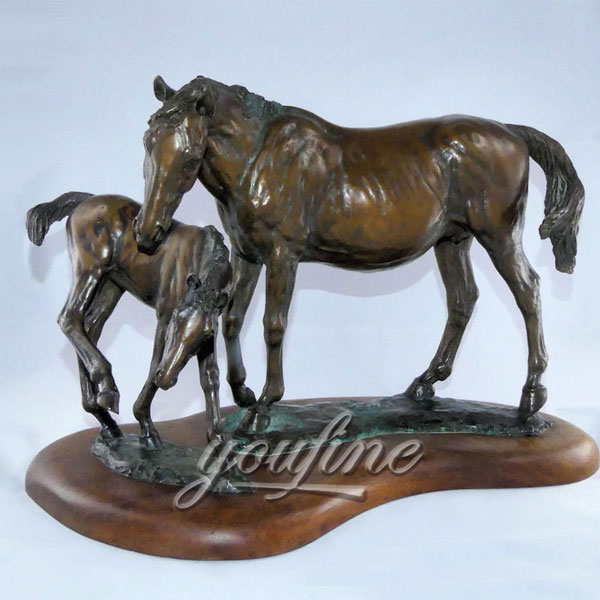 Indoor Bronze Horse with Colt Statue for home decor