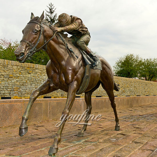 Large bronze horse and jockey sculptures for sale