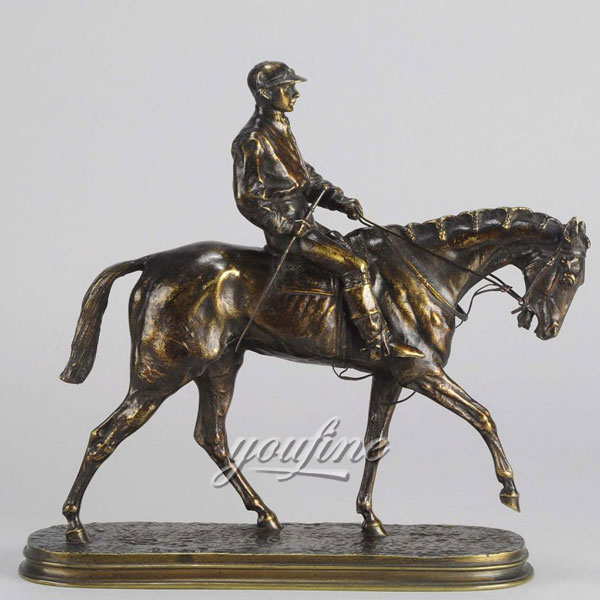 Large standing bronze horse and jockey sculpture for sale