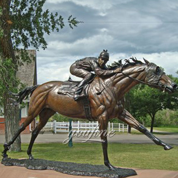 Life size bronze horse and jockey sculptures for art decor