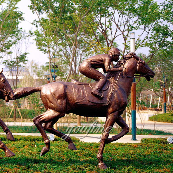 Life size bronze horse and jockey sculpture for garden decor on selling