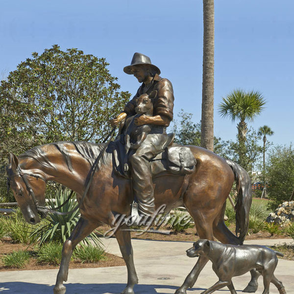 Life size bronze man riding horse statues for garden decor