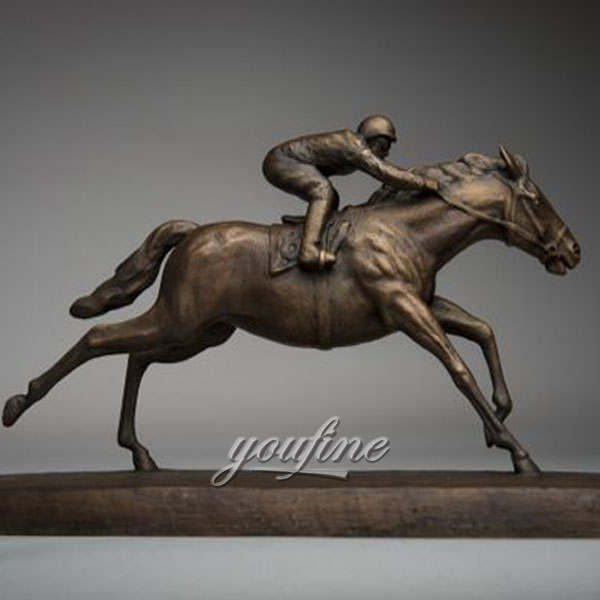 Metal art bronze race horse and jockey sculptures figurines for home decor