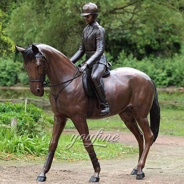 Outdoor bronze home decor life size bronze horse sculpture with female jockey statues