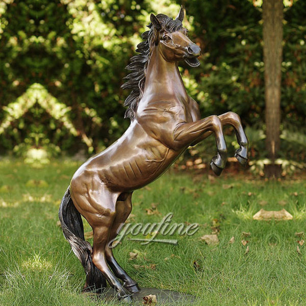 Outdoor rearing jumping bronze horse statues for sale