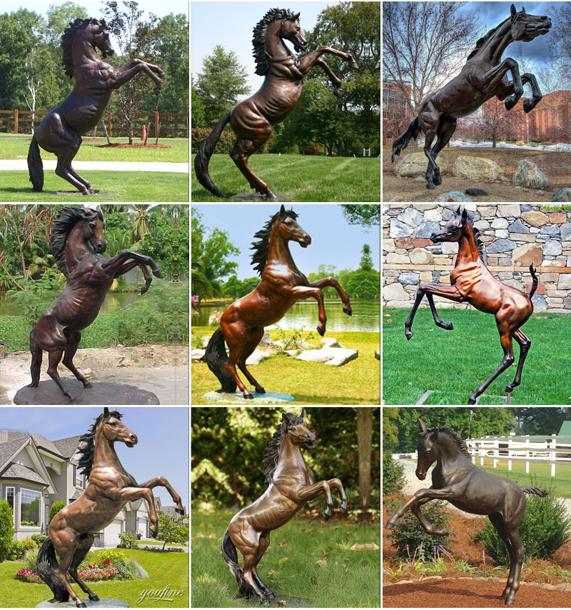 bronze rearing statues for sale