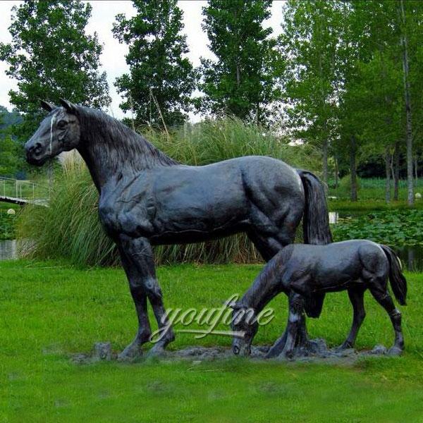 outdoor garden decoration animal sculpture metal bronze horse with poney sculptures