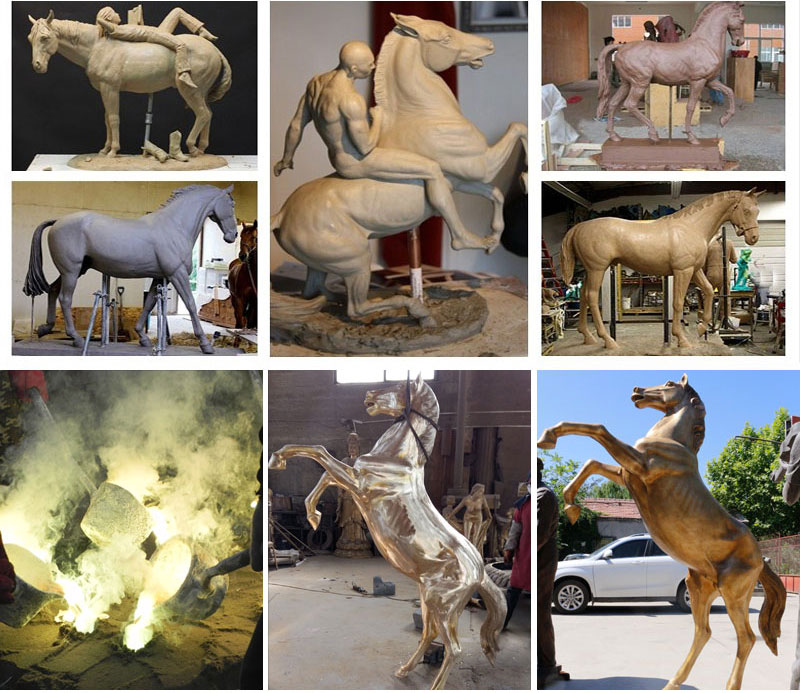 the process of making a bronze horse statue