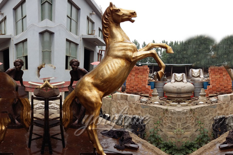 Outdoor Large Bronze jumping horse statues for American customer