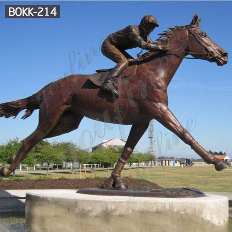 Factory Price Bronze Racing Horse with Jockey Statue Design BOKK-214