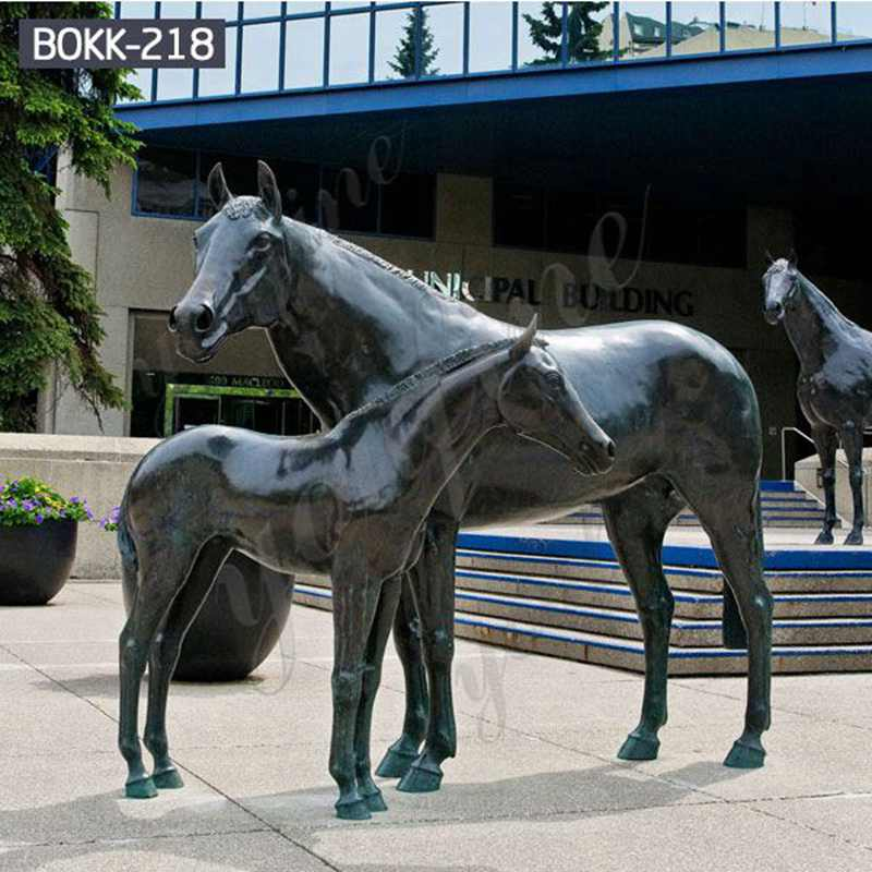Outdoor Life Size Black Bronze Horse Statues for Sale BOKK-218