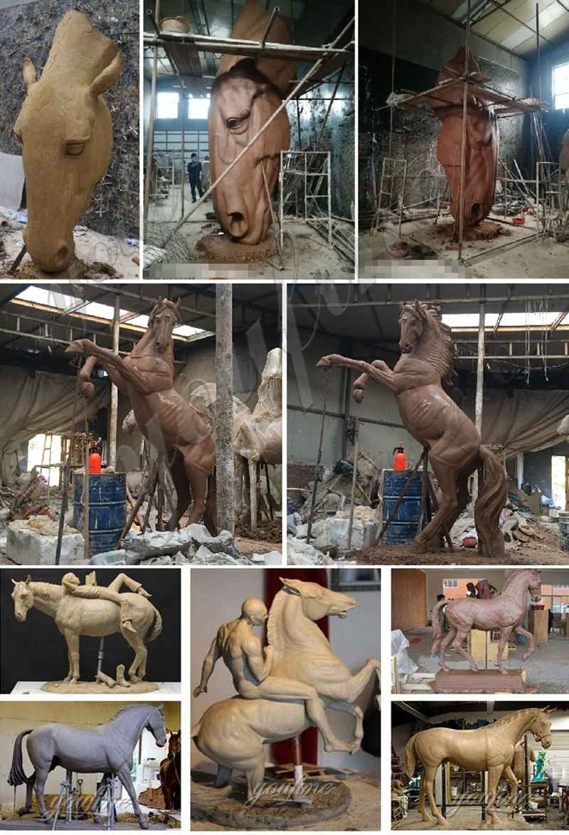 clay model of Antique Bronze Horse Statues