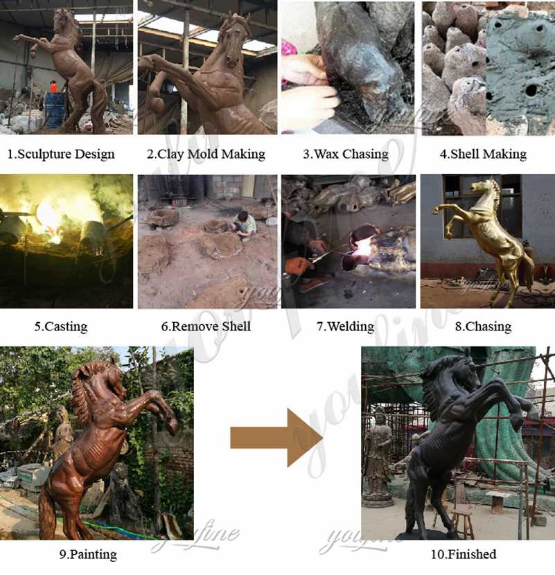 process of bronze horse statues for sale
