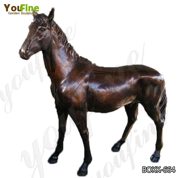 Garden Decoration Life Size Antique Bronze Horse Statue Manufacturer BOKK-664