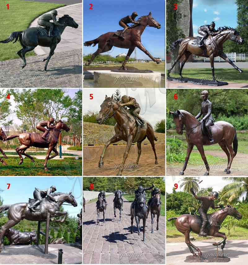 Large Garden Bronze Racing Horse Sculpture