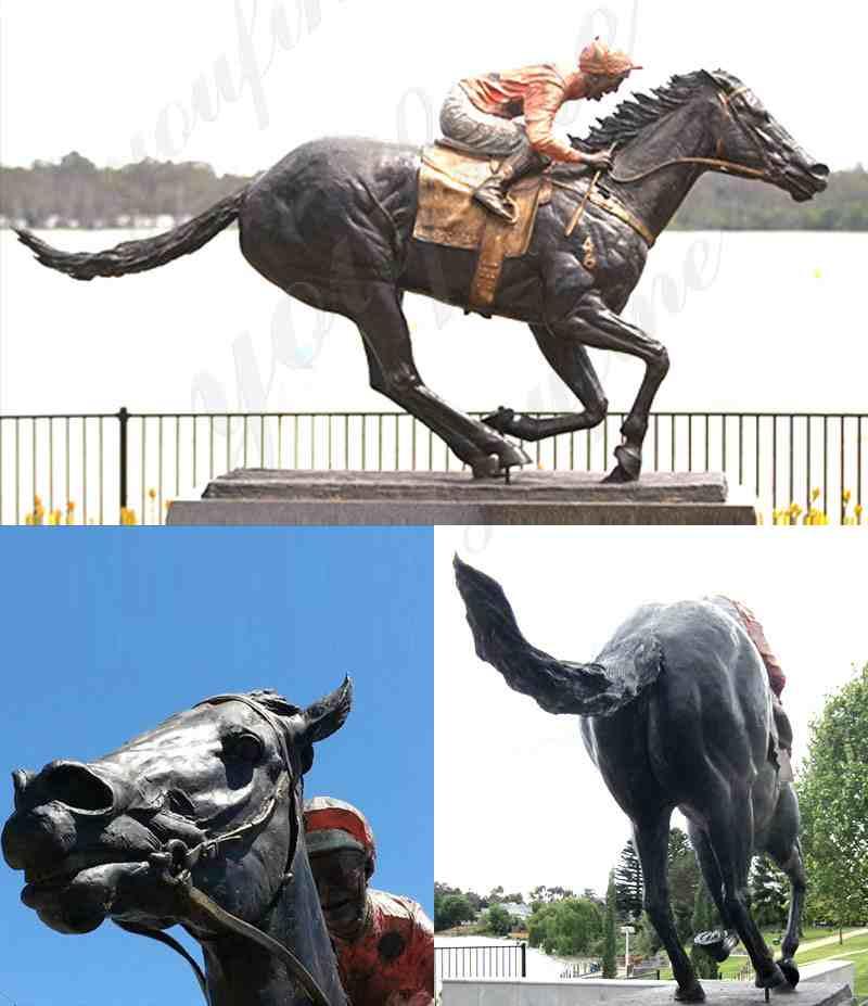 Large Outdoor Garden Bronze Racing Horse Sculpture