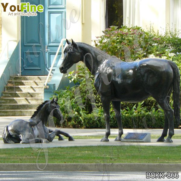 Outdoor Life Size Bronze Mare with Foal Sculpture for Sale BOKK-866