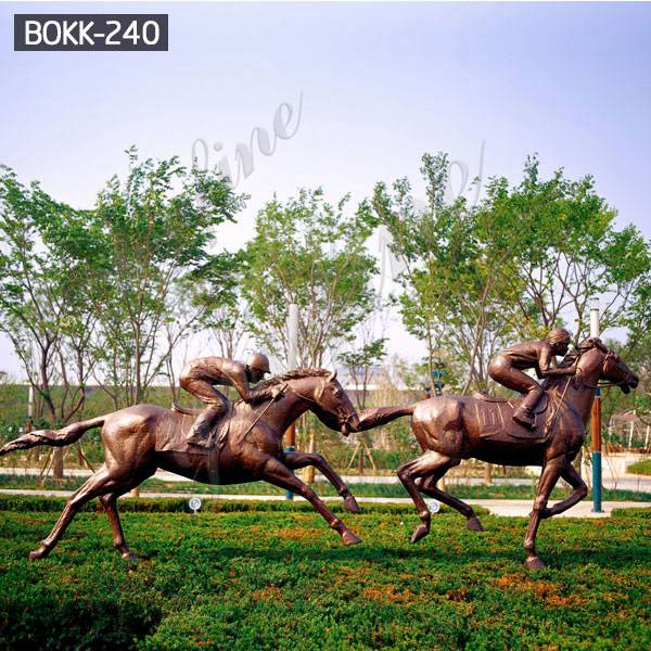 Outdoor Large Bronze Racing Horse Garden Statue for Sale BOKK-240