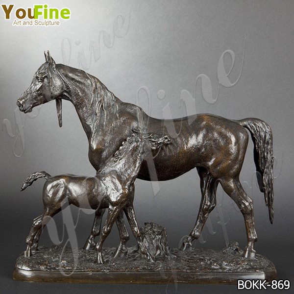 Hot Selling Outdoor Mare and Foal Bronze Statue for Garden Decor BOKK-869