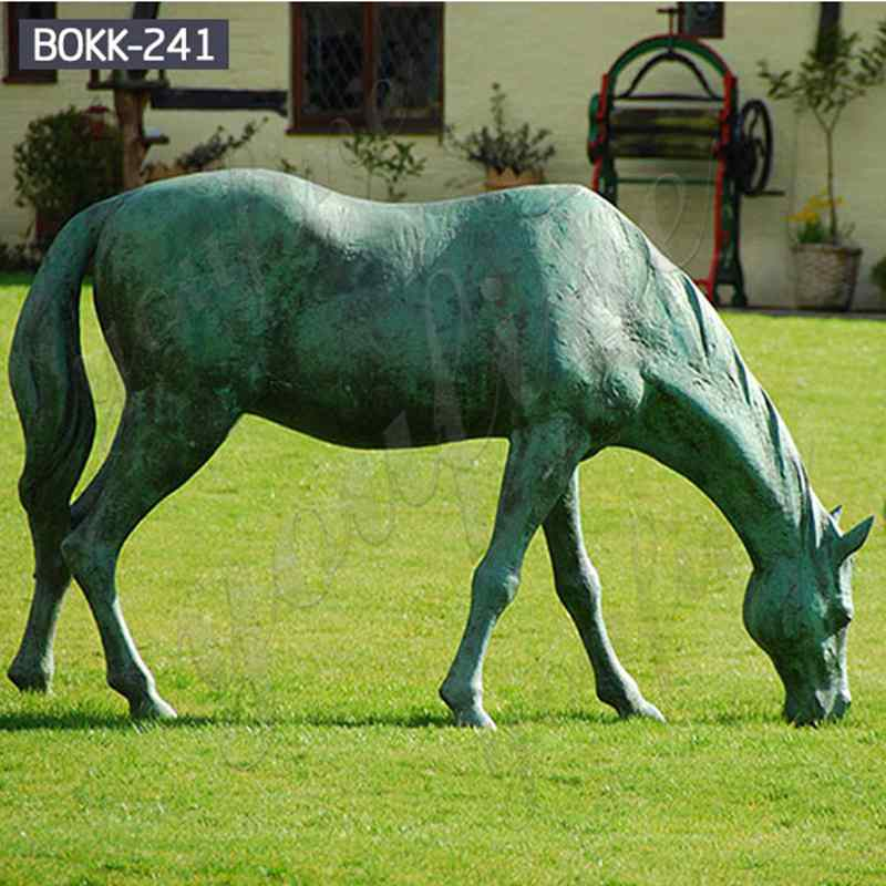 Life Size Bronze Metal Grazing Horse Sculpture for Sale BOKK-241