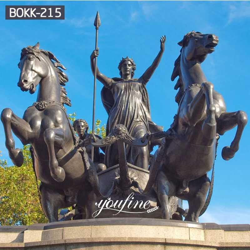 Ancient Garden Large Bronze Chariot Horse Statue for Sale BOKK-215